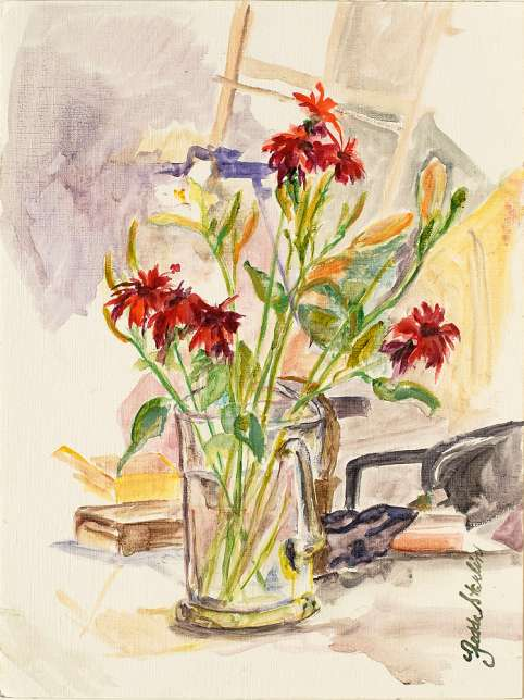 <p>Painting of boquet red flowers in glass vase.</p>: click to enlarge