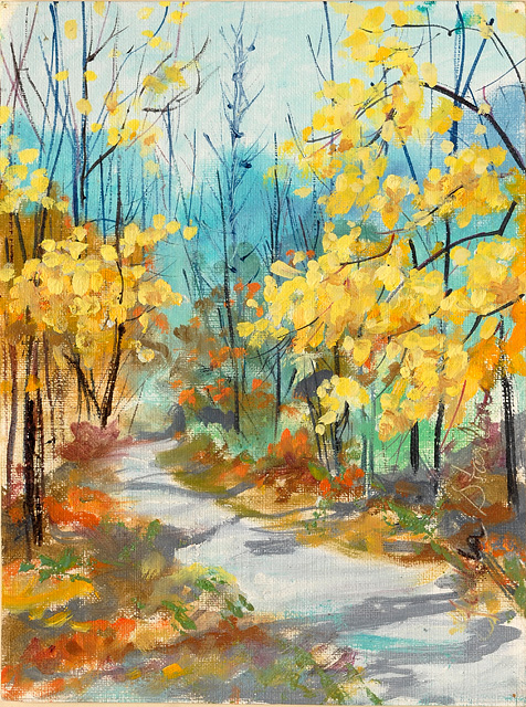 <p>A painting of colorful fall trees along a forest trail in Tennessee.</p>: click to enlarge