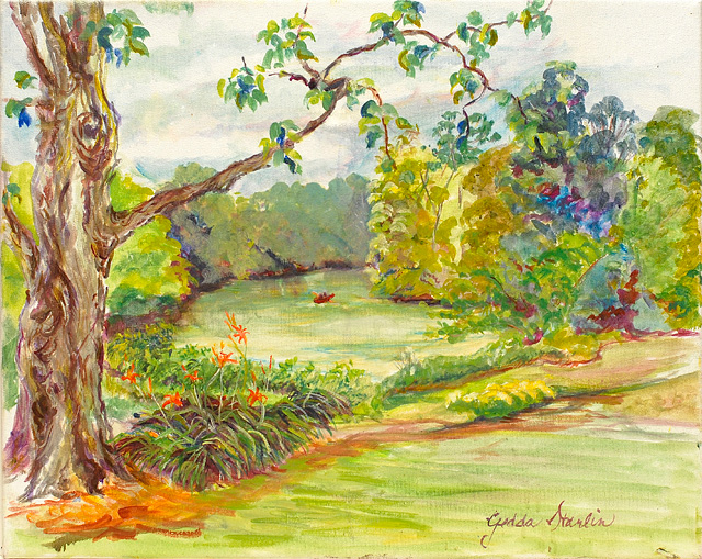 <p>Painting of trees and lilies growing on the banks of the Saint Joseph River with a canoe on the water.</p>: click to enlarge