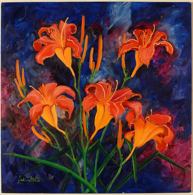<p>Painting of a daylily plant covered with orange flowers in rural Indiana.</p>: click to enlarge