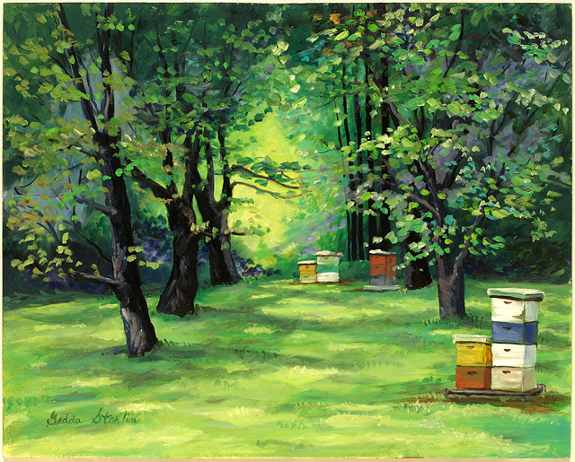 <p>Oil painting of beehives under the trees in a grassy meadow in Indiana.</p>: click to enlarge