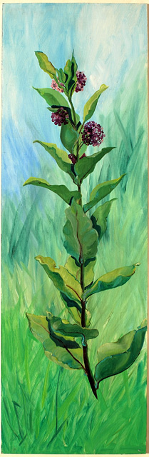 <p>Oil painting of a milkweed plant with purple flowers in bloom.</p>: click to enlarge
