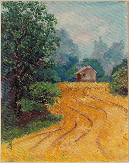 <p>A painting of a small barn by the woods at the edge of a soybean field at harvest time in Indiana.</p>: click to enlarge