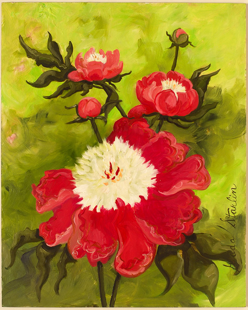 <p>Oil painting of red and white peony flowers</p>: click to enlarge