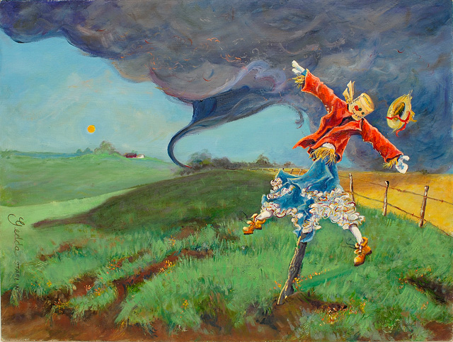 <p>An oil painting of a midwestern tornado tearing at a scarecrow</p>: click to enlarge