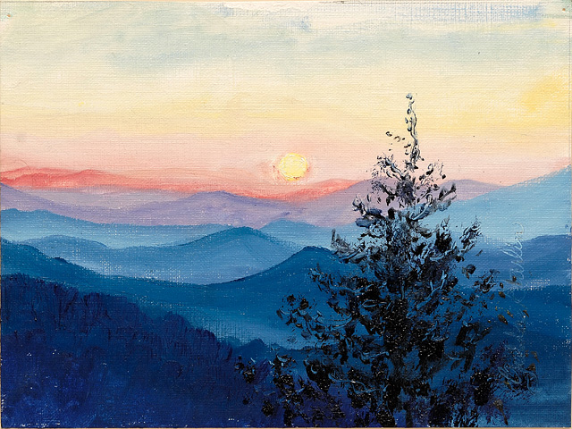 <p>A painting of the sun rising over the Smoky Mountains in Tennessee.</p>: click to enlarge