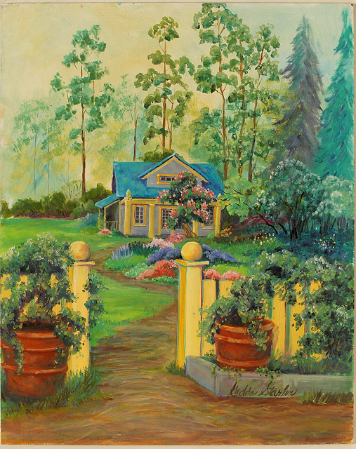 <p>Oil painting of a brightly colored cottage surrounded by trees and flowers in rural Indiana.</p>: click to enlarge