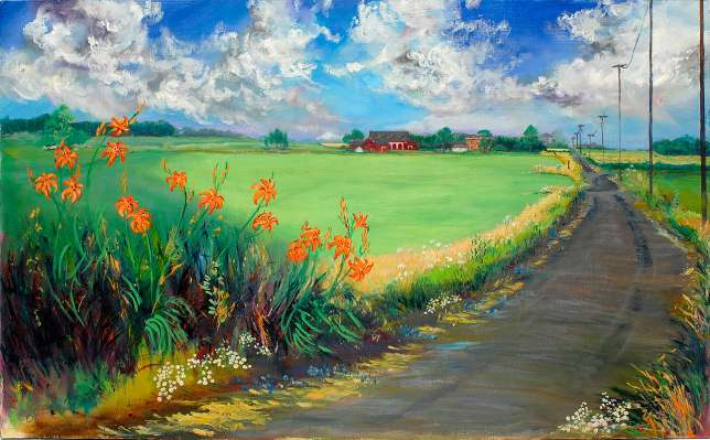 <p>Oil painting of a country road through green fields and patches of orange lilies to a brick farmhouse in rural Indiana.</p>: click to enlarge