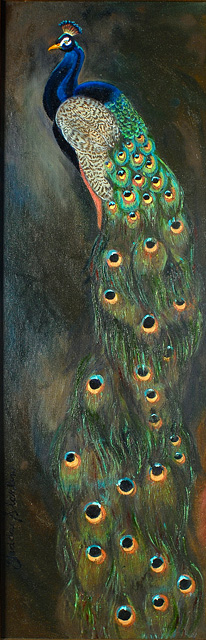 <p>Painting of a male peacock</p>: click to enlarge