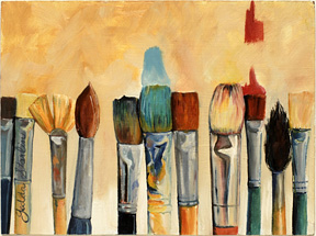 An oil painting of a group of artists paint brushes by Gedda Starlin.