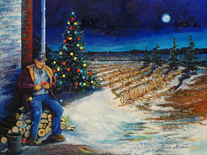 A farmer sits on a pile of logs setting up lights for the Christmas tree on a winter evening.